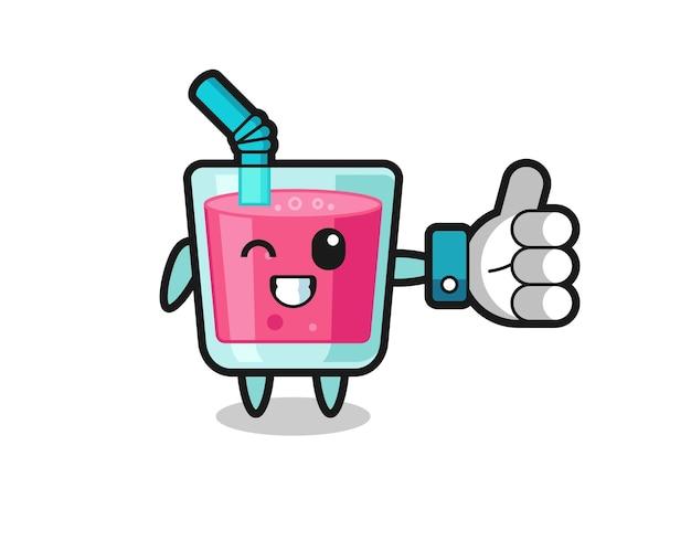 Leuk aardbeiensap met social media thumbs up symbool, schattig stijlontwerp voor t-shirt, sticker, logo-element