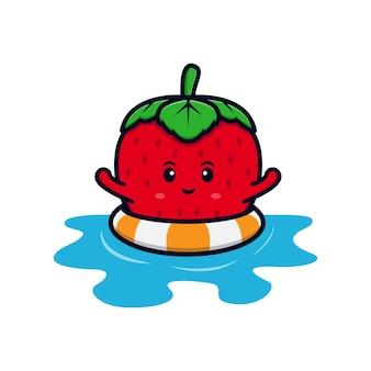 Leuk aardbeikarakter die op water vlakke pictogramillustratie zwemmen