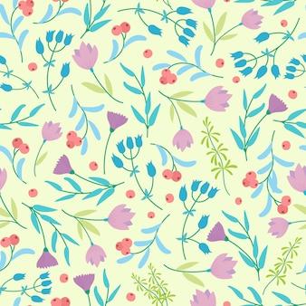 Leuk abstract naadloos patroon met kleine kleurrijke bloemen op het geel