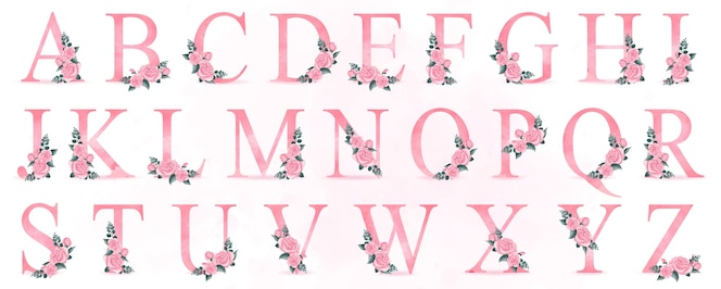 Leuk alfabet met rozenillustratie