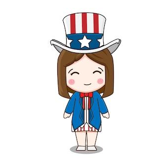 Leuk amerikaans meisje dat oom sam kostuum draagt