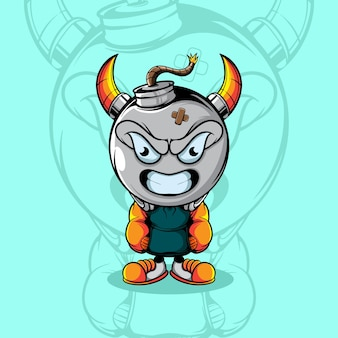 Leuk angry bom karakter met urban wear
