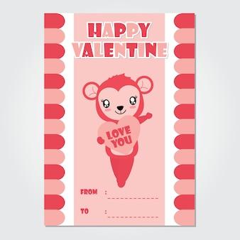 Leuk apenmeisje brengt roze hart