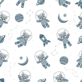 Leuk astronaut kat dier cartoon naadloos patroon