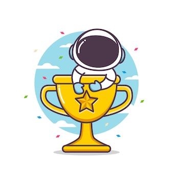 Leuk astronautenkarakter binnen trofee