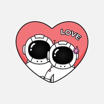 Leuk astronautenpaar op valentijnsdag