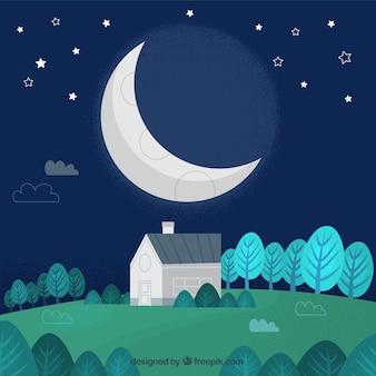 Leuk avondje landschap met maan