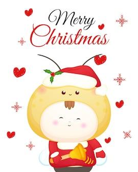 Leuk baby-santakostuum voor vrolijke kerstkaartillustratie premium vector