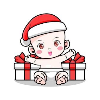 Leuk babyontwerp met kerstmuts