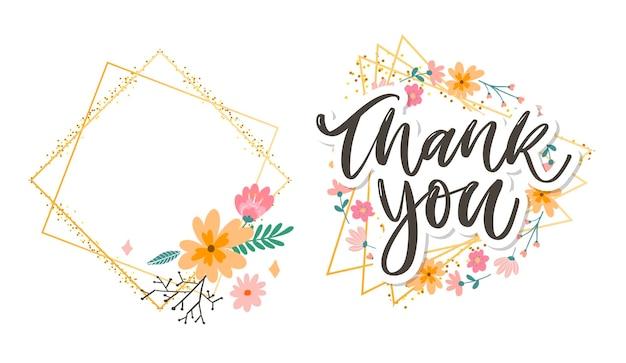 Leuk bedankje de tekst van de de bloemenbrief van de manuscriptkaart Premium Vector