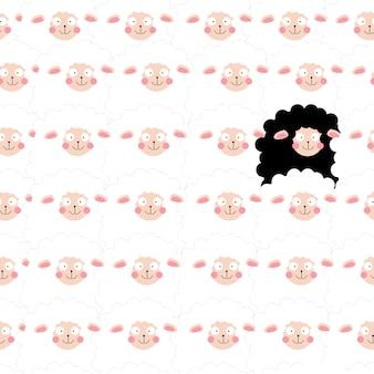 Leuk beeldverhaal grappig lam in naadloos patroon
