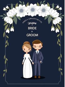 Leuk beeldverhaalpaar voor de kaart van huwelijksuitnodigingen
