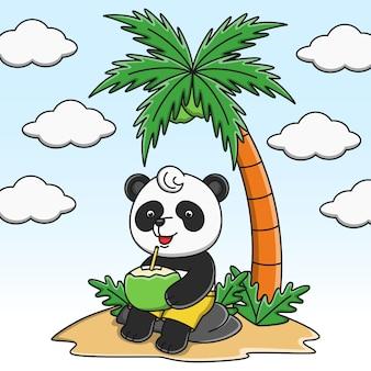 Leuk beeldverhaalpanda het drinken het ontwerp van de kokosnotenwaterillustratie