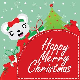 Leuk beermeisje, kerstmisboom en het kader van giftdozen