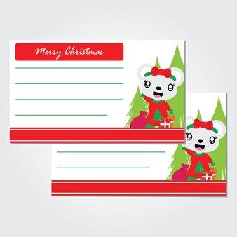Leuk beermeisje naast kerstmisboom
