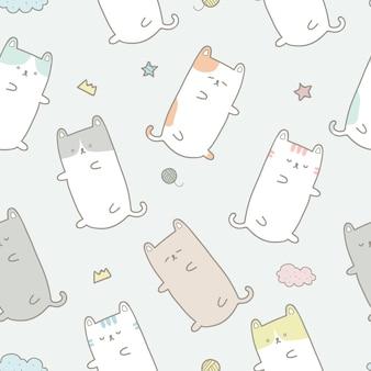 Leuk behang van het de pastelkleur naadloos patroon van de kattenslaap