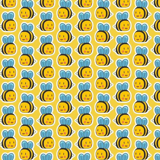 Leuk bijen naadloos hand getrokken patroon