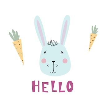 Leuk blauw konijntje in de scandinavische stijl van platte illustratie konijnwortel en kalligrafie