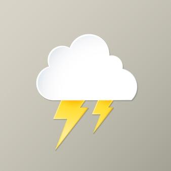 Leuk bliksemelement, schattige weer clipart vector op grijze achtergrond