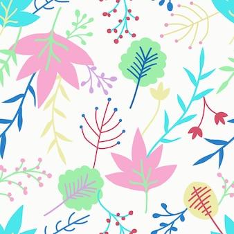 Leuk bloemen naadloos patroonontwerp op witte achtergrond.