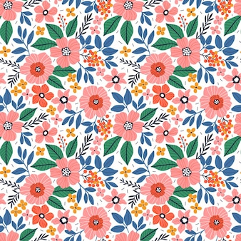 Leuk bloemenpatroon in de kleine koraalroze bloemen naadloze vectortextuur witte achtergrond