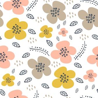 Leuk bloemhand getrokken skandinavisch naadloos patroon