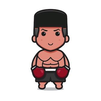 Leuk bokskarakter draagt rode handschoenen cartoon vector pictogram illustratie sport icon