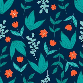 Leuk botanisch naadloos patroon met groene bladeren en rode bloemen in krabbelstijl op donkerblauwe achtergrond.