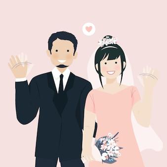 Leuk bruidspaar gelukkig gebaar glimlachend en zwaaiende hand