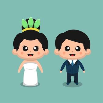 Leuk bruidspaar voor bruiloft