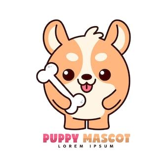 Leuk bruin puppy lacht en brengt een groot been op zijn hand, mascot-logo