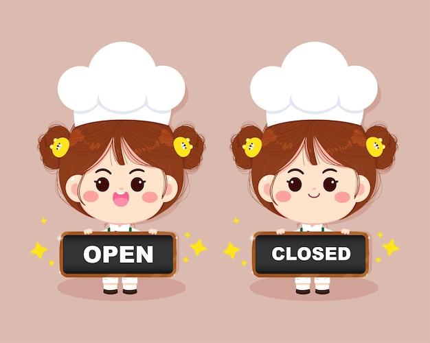 Leuk chef-kok meisje glimlachend in uniform bedrijf teken open en dicht cartoon kunst illustratie