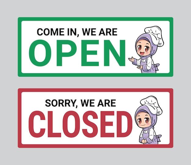 Leuk chef-kokkarakter op open en gesloten uithangbord