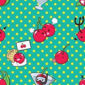 Leuk cherry catoon karakterpatroon.