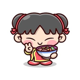 Leuk chinees meisje dat vredesteken toont en abig kom met noedel hoge kwaliteit cartoon mascotontwerp houdt