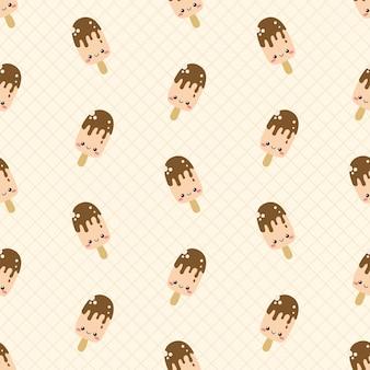 Leuk chocolade ijslolly naadloos patroon