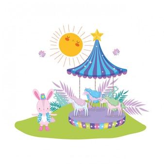 Leuk circuskonijn met laag en carrousel