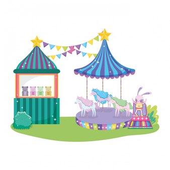 Leuk circuskonijn met laag en kiosk