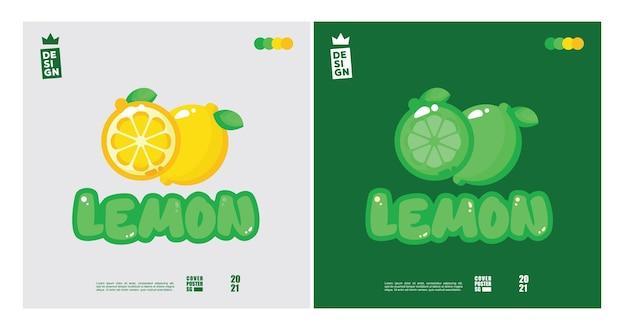 Leuk citroenlogo-concept met een mix van 2 kleuren