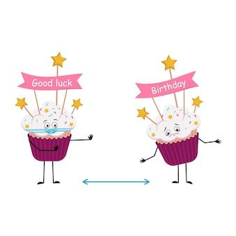 Leuk cupcakekarakter met droevig emotiesgezicht en masker houd afstand armen en benen zoet voedsel met d ...