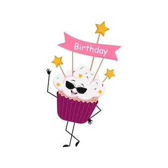 Leuk cupcakekarakter met glazen en vrolijke emoties, glimlachgezicht, gelukkige ogen, armen en benen. zoet eten met versieringen, feestelijk dessert