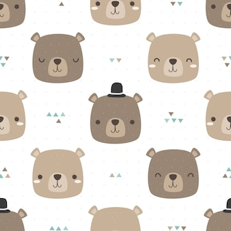 Leuk de krabbel naadloos patroon van het teddybeer hoofdbeeldverhaal