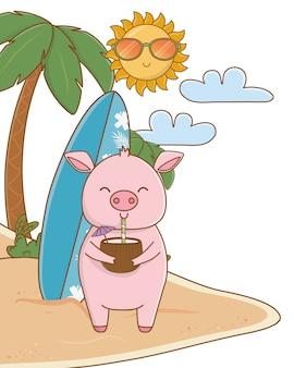 Leuk dier dat van het beeldverhaal van de zomertijd geniet