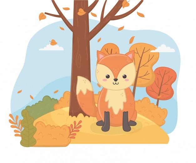 Leuk dier in de herfstseizoen