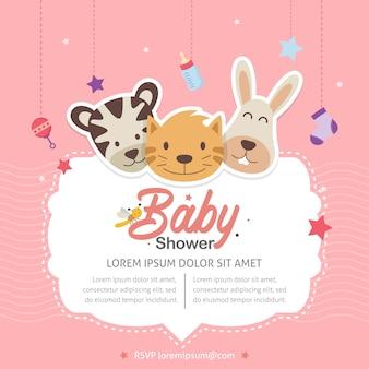 Leuk dierlijk baby shower thema uitnodiging sjabloon