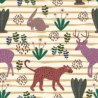 Leuk dierlijk hand getrokken patroon met naadloos kleurrijk jachtluipaard, konijn, en amerikaanse elandenherten