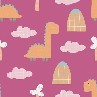 Leuk dinosauruspatroon - hand getrokken kinderachtig dinosaurus naadloos patroonontwerp