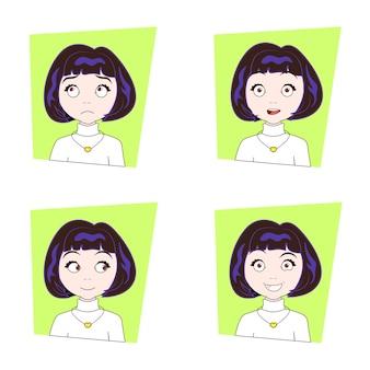 Leuk donkerbruin meisje met verschillende gelaatsemotiesreeks jonge uitdrukkingen van het vrouwengezicht