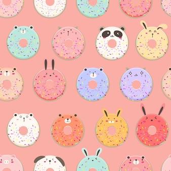 Leuk donut naadloos patroon