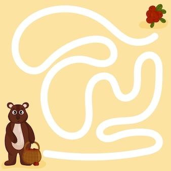 Leuk doolhof voor jongere kinderen. een verzameling educatieve spelletjes voor kinderen. vector cartoon stijl
